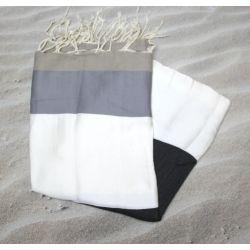 Fouta plate Dubaï blanche et grise
