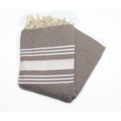 Fouta XXL medium gray stripes fuschia