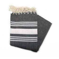 fouta XXL striped brown & white
