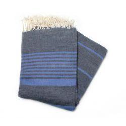 fouta 2x3 m arthur gris & bleu grande XXL 38 200/300 cm