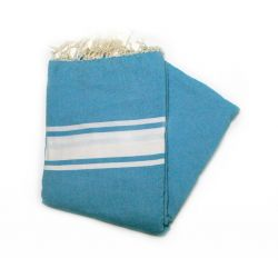 fouta 2x2 m classique bleu lagon