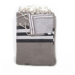 fouta doublée athenes taupe
