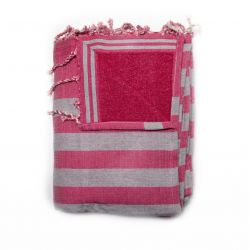 beach towel lined corfou red & corfu gray 3 TOWELS & DOUBLE FOUTAS
