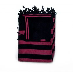 beach towel lined black corfou & fuschia corfou 5 TOWELS & DOUBLE FOUTAS