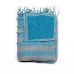 beach towel lined corfou sky & corfou gray 6 TOWELS & DOUBLE FOUTAS