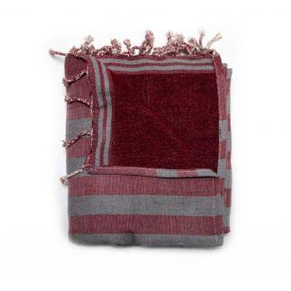 fouta doublée corfou rouge & gris corfou 7 SERVIETTES & FOUTAS DOUBLEES