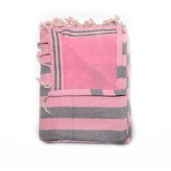 beach towel lined corfou pink & corfu gray 2 TOWELS & DOUBLE FOUTAS