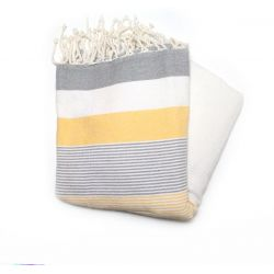 fouta saint tropez gray yellow & white saint tropez 1 TOWELS & DOUBLE FOUTAS