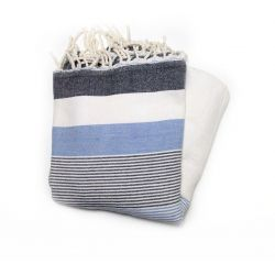 fouta saint tropez blue gray and white saint tropez 4 TOWELS & DOUBLE FOUTAS