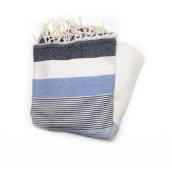 fouta saint tropez bleu gris et blanc saint tropez 4 SERVIETTES & FOUTAS DOUBLEES
