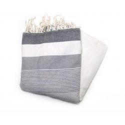 fouta saint tropez noir gris & blanc saint tropez 2 SERVIETTES & FOUTAS DOUBLEES