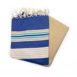 Fouta djerba bleu or &turquoise Djerba 1 les colorées