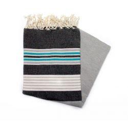 Fouta Djerba noir gris & turquoise Djerba 3 les colorées