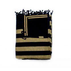 beach towel lined black corfou & corfou gold 4 TOWELS & DOUBLE FOUTAS