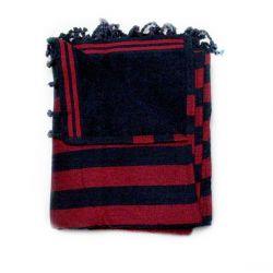 fouta doublée corfou noir & rouge corfou 1 SERVIETTES & FOUTAS DOUBLEES