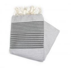 Beach towel 2x3 m gray stripe dark green