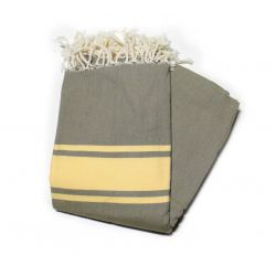 fouta 1 5x2 5 m classic miltaire green straw yellow