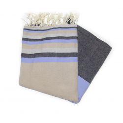 Fouta plate sousse sable gris ciel & noir sousse 8 les 5 couleurs