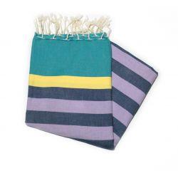 fouta plate kerouan turquoise jaune lavande & noir kerouan 8 les colorées